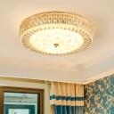 Gold Circular Ceiling Light Fixture Clear K9 Crystal Modern 1 Light LED Flushmount Lighting