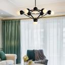 Metal Geometric Hanging Light with Orb Glass Shade Modern Multi Light Chandelier Lamp in Black