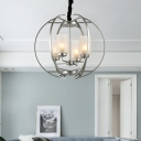 Silver Orb Hanging Lamp with Cylinder Opal Glass Shade 4 Lights Vintage Foyer Chandelier