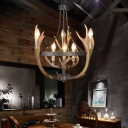 Antler Chandelier Lighting Metal and Resin 6/9 Lights Rustic Loft Indoor Ceiling Pendant