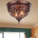 2 Lights Domed Flush Mount Fixture Modern Flush Ceiling Light with Colorful Jewelry in Weathered Copper