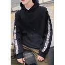 Mens Popular Fashion Checkerboard Printed Long Sleeve Casual Drawstring Hoodie