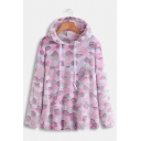 Stylish Geometry Pattern Long Sleeve Loose Leisure Fluffy Teddy Hoodie