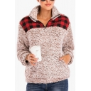 New Fashion Plaid Print Half-Zip Stand Collar Long Sleeve Color Block Fluffy Teddy Pullover Sweatshirt