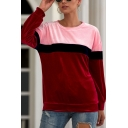 New Fashion Color Block Pleuche Round Neck Long Sleeve Pullover Sweatshirt
