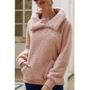 Hot Popular Plain Zipper Collared Leisure Fluffy Fleece Teddy Sweatshirt With Pockets