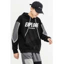 Mens Popular Letter EXPLORE THE UNKNOWN Printed Colorblocked Long Sleeve Black Drawstring Hoodie