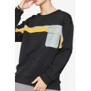 Mens Trendy Colorblock Pocket Patched Graphic Printed Behind Round Neck Long Sleeve Casual Pullover Sweatshirt