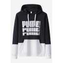 Cool Fashion Letter PUME Printed Colorblock Long Sleeve Casual Loose Fit Hoodie for Men