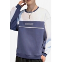 Mens Hot Fashion Colorblock Letter Printed Round Neck Long Sleeve Casual Sports Sweatshirt