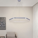 Silver Geometric Suspension Light Minimalist Modern Metal Led Indoor Lighting for Living Room