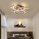 Multi-Layer Semi Flush Light Modern Metal 4-LED Semi Flush Mount Lighting in Brown