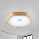 Wood Round Flush Ceiling Light Nordic 1 Light 18.5