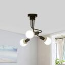 3/5 Lights Twist Semi Flush Lighting Modern Simple Metal Indoor Lighting in Black for Bedroom