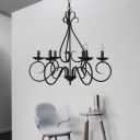 Traditional Candle Pendant Lamp Metal 6 Lights Black Hanging Chandelier for Dining Room