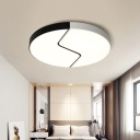 Black and White Round Flushmount Metal 2 Lights 19.5