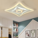 Contemporary Curved Square Ceiling Mount Light Acrylic Ceiling Lamp in White for Kid Bedroom