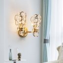 Metal Candle Sconce Light with Crystal Decor 2 Lights Modern Style Sconce Wall Light in Gold for Bedroom