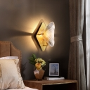 Clear Crystal Square Wall Light 1 Light Modern Stylish Sconce Lamp in Brass for Hotel Corridor
