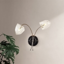 Bedroom Hotel Floral Wall Light Metal and Crystal 2 Lights Modern Black Wall Sconce