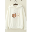 Lovely Bear Rabbit Applique Plain Long Sleeve Thick Drawstring Hoodie