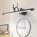 Modern Tube Vanity Lighting with Antler Metal Led Wall Lamp in Black/Aged Brass, 14