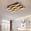 Contemporary Wavy Flush Lighting Metal 6/8 Lights Brown Led Ceiling Lighting Fixture in Warm/White