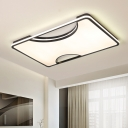 Black/White Acrylic Flush Ceiling Light Fixture Simple LED Geometric Flushmount Light in Warm/White, 16