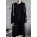 Black Long Sleeve Zipper Panel Slit Back Drawstring Longline Hoodie