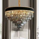 Layered Chandelier Lighting Modern Style 9/12 Lights Smoke Crystal Block Hanging Light