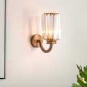 Cylinder Crystal Wall Sconce Modernist 1 Light Clear Wall Lighting Fixture in Copper, 5