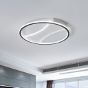 Black Round/Square/Rectangle Flushmount with White Canopy Minimalism Led Flush Ceiling Light in Warm/White