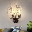 Branch Flush Wall Sconce with Bare Bulb and Decorative Crystal Vintage 2 Lights Living Room Wall Lamp in Black