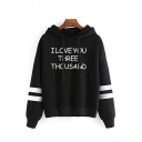 I LOVE YOU THREE THOUSAND Letter Print Stripe Embellished Drawstring Hoodie