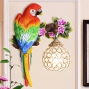 Parrot Wall Sconce to Right/Left Country Style 1 Head Wall Light with Dome Crystal Lampshade in Gold Finish