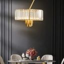 3/4/6 Lights Drum Crystal Chandelier Lighting Mid Century Modern Clear Pendant Lighting for Living Room