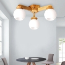 3/5/7 Bulbs Branch Flushmount Lighting with White Globe Glass Shade Contemporary Ceiling Lamp in Wood