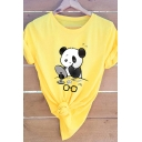 Lovely Cartoon Panda Pattern Round Neck Short Sleeve Casual T-Shirt