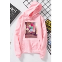 Winter Fashion Colorful Balloons Printed Long Sleeve Thicken Hoodie for Women