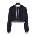 Black Chic Striped Trim Long Sleeve Drawstring Cropped Hoodie
