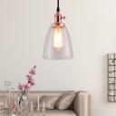 Industrial Glass Pendant Light Single Light Bell Hanging Light Fixtures for Corridor