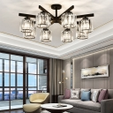 Industrial Radial Semi Flush Lighting Clear Crystal Prism Shade 3/6/8 Lights Semi Flush Ceiling Light in Black