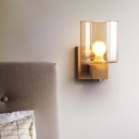 Cognac Glass Cylinder Wall Light Fixture Nordic Style 1 Light Mini Wall Sconce Light in Wood