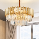 8-Light Stainless Steel Pendant Lighting Modern Iron Crystal Hanging Chandelier in Brass