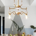 Gold Bell Island Light Fixture Modern Glass Crystal 2 Heads Hanging Lamps in Gold