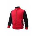 Mens Contrast Long Sleeve Stand Up Collar Zipper Sport Sweatshirt