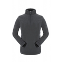 Simple Stand Up Collar Half Zip Long Sleeve Polar Fleece Plain Casual Outdoor Sweatshirt
