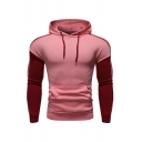 Slimming Striped Colorblocked Panel Long Sleeve Drawstring Pullover Hoodie