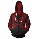 Big Mouth 3D Print Cosplay Costume Long Sleeve Sport Zip Up Red Hoodie