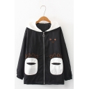 Letter I'LL EVEN SHARE MY CAT WITH YOU Printed Back Cat Claw Pocket Zipper Jacket Coat